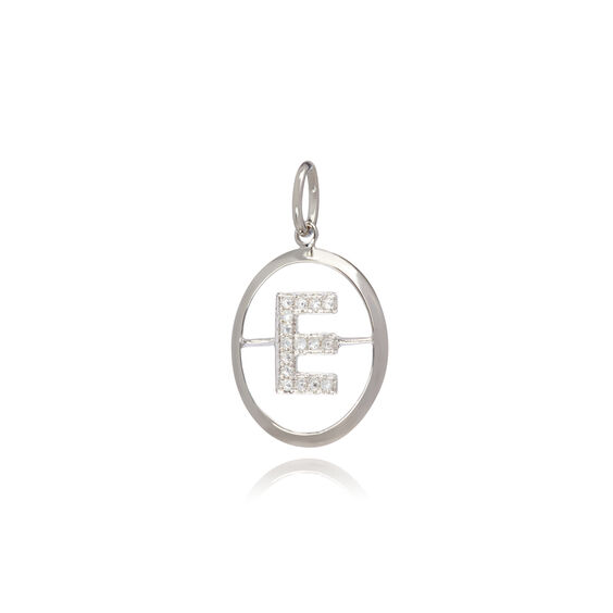 18ct White Gold Initial E Pendant | Annoushka jewelley
