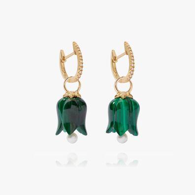 18ct Gold Malachite Pearl Tulip Earrings