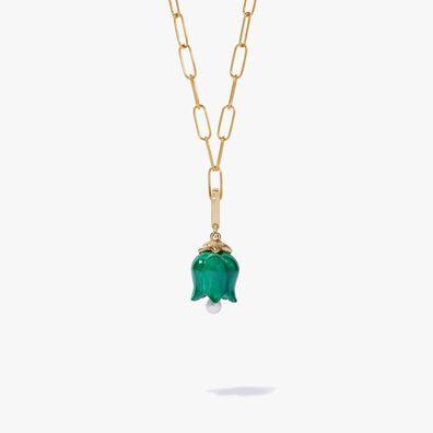 18ct Gold Tulip Malachite Charm Necklace