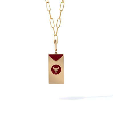 Mythology 18ct Gold Red Envelope Ox Charm Necklace