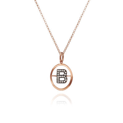 18ct Rose Gold Initial B Necklace