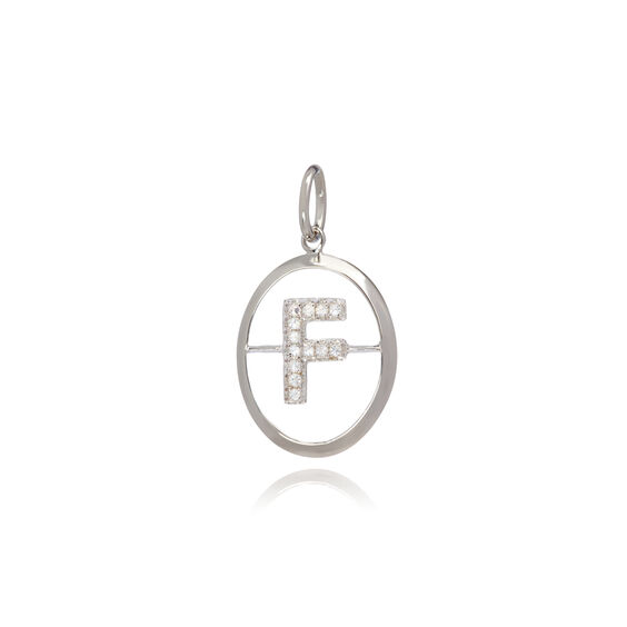 18ct White Gold Initial F Pendant