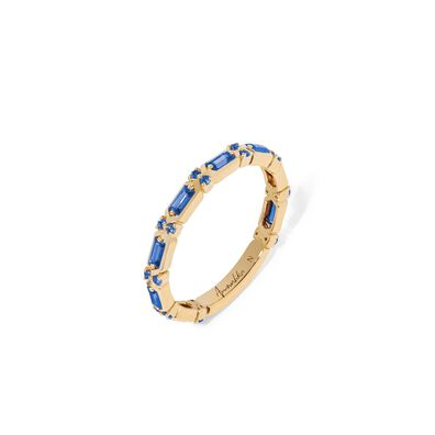 18ct Gold Blue Sapphire Baguette Ring