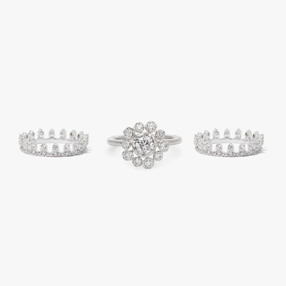 18ct White Gold Marguerite Diamond and Double Crown Ring Stack | Annoushka jewelley