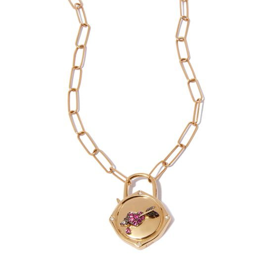 Lovelock 14ct Gold Mini Cable Chain Heart & Arrow Charm Necklace | Annoushka jewelley