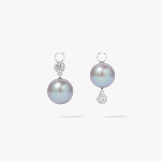 18ct White Gold Diamond & Grey Pearl Earring Drops