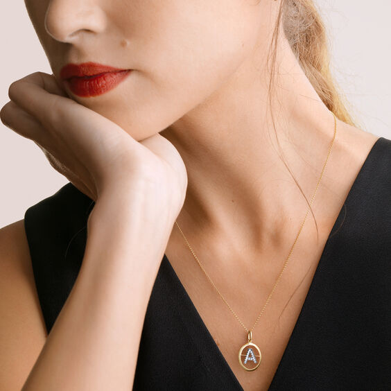 18ct Gold Diamond Initial A Necklace | Annoushka jewelley