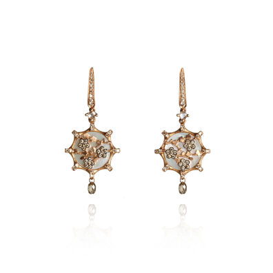 Dream Catcher 18ct Rose Gold Pearl Diamond Small Earrings