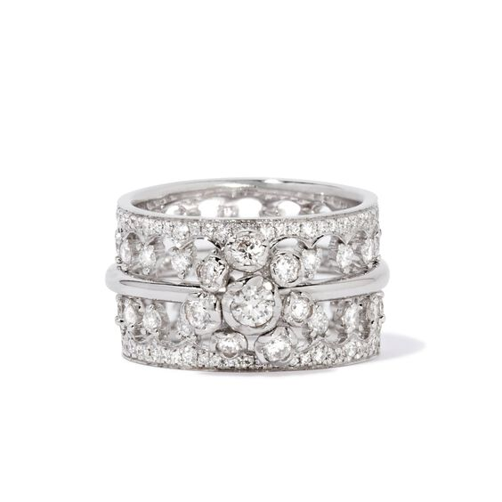 Marguerite 18ct White Gold Large Ring Stack | Annoushka jewelley