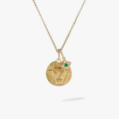 Gold Taurus & Emerald May Birthstone Necklace