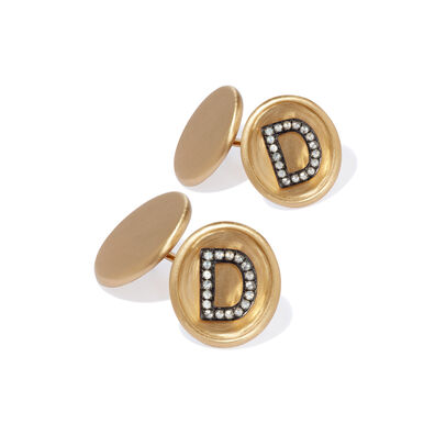 18ct Satin Gold Diamond Initial D Cufflinks