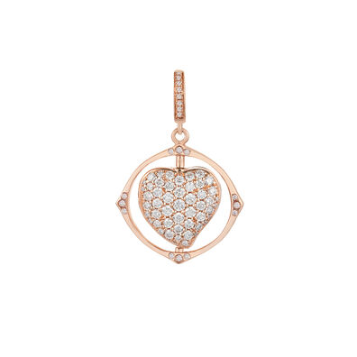Mythology 18ct Rose Gold Spinning Heart Locket Charm