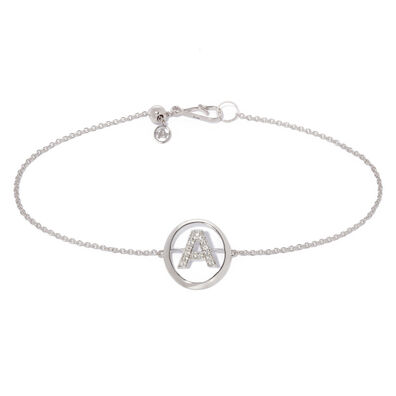 18ct White Gold Diamond Initial A Bracelet