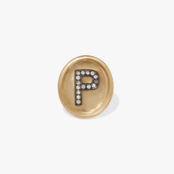 18ct Gold Diamond Initial P Face | Annoushka jewelley
