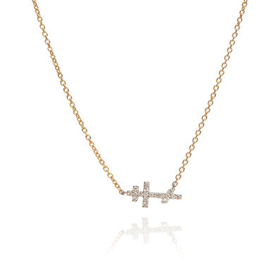 Love Diamonds 18ct Bi-Gold Diamond Cross Necklace