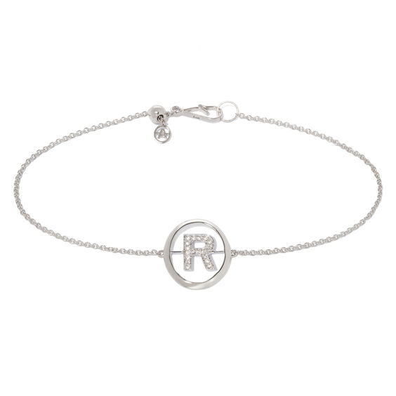 18ct White Gold Diamond Initial R Bracelet