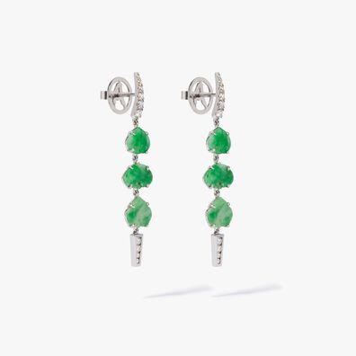 Unique 18ct White Gold Jade Diamond Drop Earrings