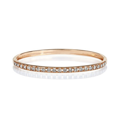 Dusty Diamonds 18ct Rose Gold Diamond Line Bangle