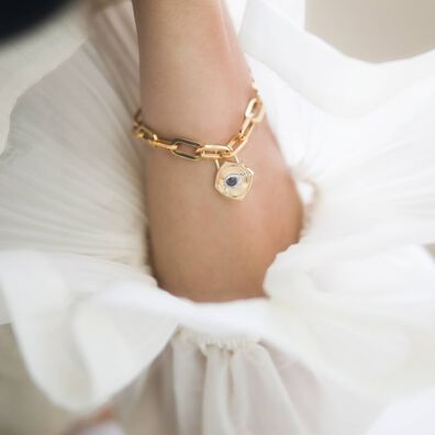 Lovelock 18ct Gold Cable Chain Evil Eye Charm Bracelet