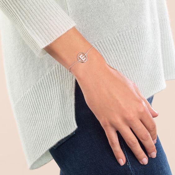 18ct White Gold Diamond Initial E Bracelet