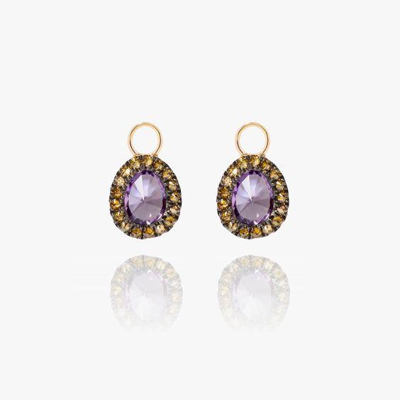 Dusty Diamonds 18ct Gold Amethyst Mini Earring Drops | Annoushka jewelley