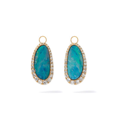 Unique 18ct Gold Opal Diamond Earring Drops
