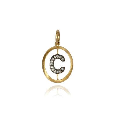 18ct Gold Diamond Initial C Pendant