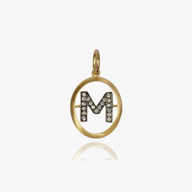 18ct Gold Diamond Initial M Pendant