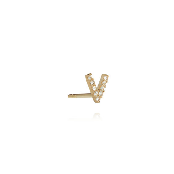 18ct Gold Diamond Initial V Single Stud Earring
