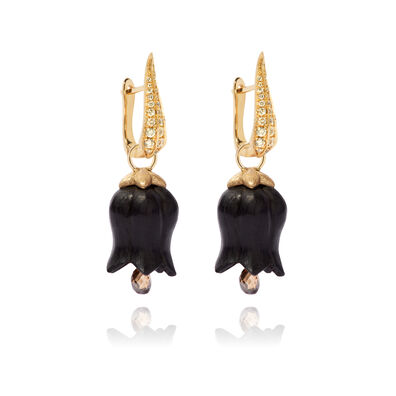 18ct Gold Ebony Diamond Tulip Earrings