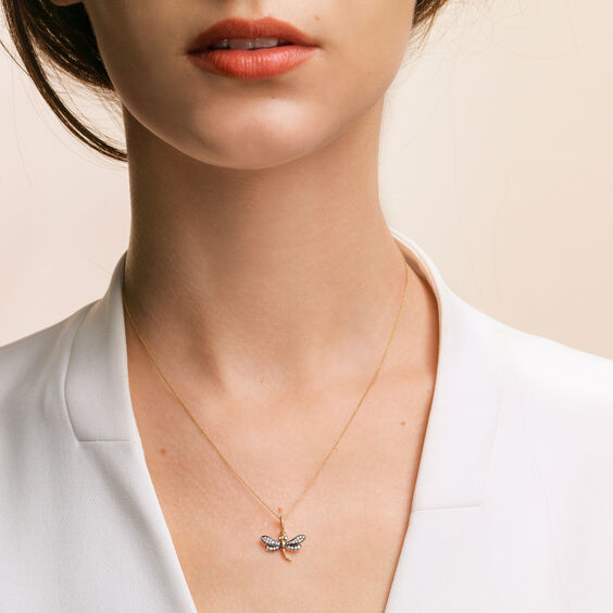 Love Diamonds 18ct Gold Diamond Dragonfly Necklace | Annoushka jewelley