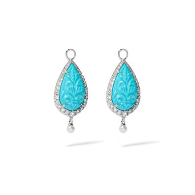Unique 18ct White Gold Turquoise & Pearl Earring Drops
