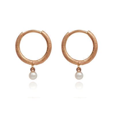 Hoopla 18ct Rose Gold Pearl Hoop Earrings