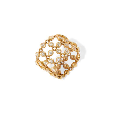 Lattice 18ct Gold Diamond Net Ring