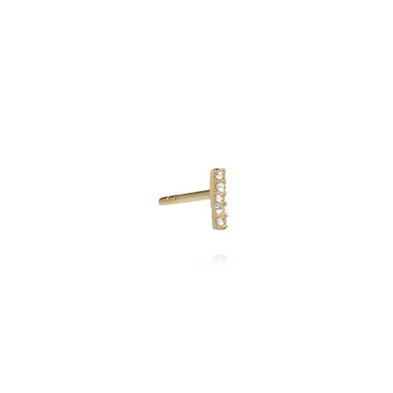 18ct Gold Diamond Initial I Single Stud Earring