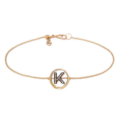 18ct Gold Diamond Initial K Bracelet