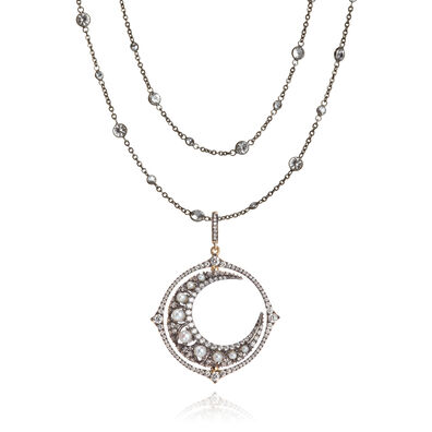 Mythology 18ct White Gold Moon Necklace