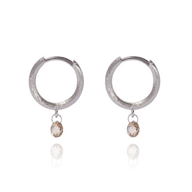 Hoopla 18ct White Gold Diamond Hoop Earrings