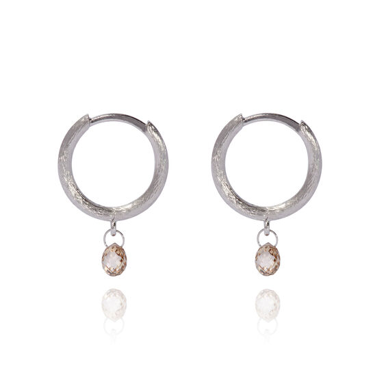 Hoopla 18ct White Gold Diamond Hoop Earrings | Annoushka jewelley