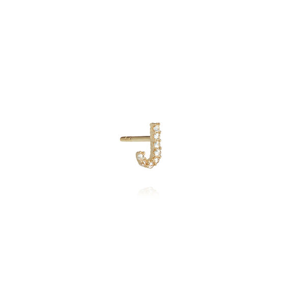 18ct Gold Diamond Initial J Single Stud Earring