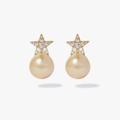 18ct Gold Diamond South Sea Pearl Star Earrings