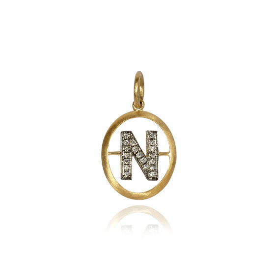 18ct Gold Diamond Initial N Pendant | Annoushka jewelley