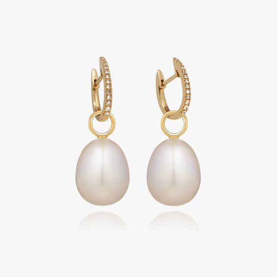 18ct Gold Brown Diamond Baroque Pearl Earrings