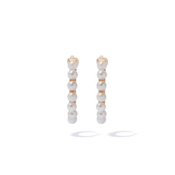 18ct Gold Pearl Hoop Earrings | Annoushka jewelley