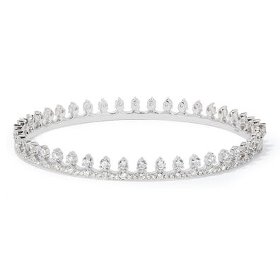 Crown 18ct White Gold Diamond Bangle
