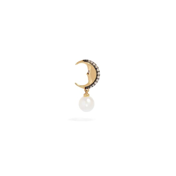 Mythology 18ct Gold Pearl Moon Single Left Drop Earring | Annoushka jewelley
