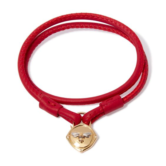 Lovelock 18ct Gold 41cms Red Leather Bee Charm Bracelet | Annoushka jewelley