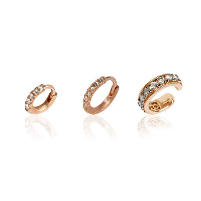 Dusty Diamonds 18ct Rose Gold Diamond Ear Trio