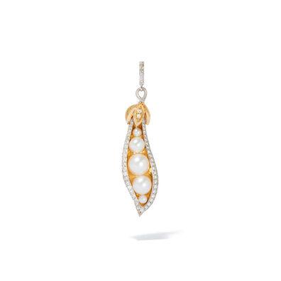 Mythology 18ct White Gold Pearl Diamond Peapod Seed Charm