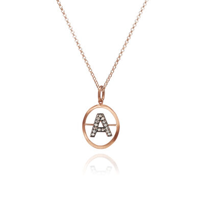 18ct Rose Gold Initial A Necklace